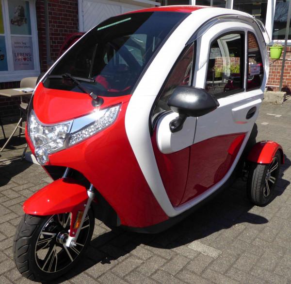 LEBENSFREUDE 3-Rad Elektro-Kabinenroller 25 km/h Rot/Weiß